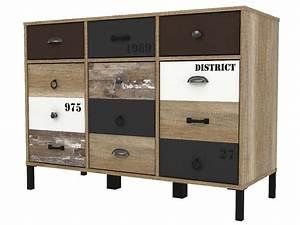 Sejour Style Industriel : rangement 3 portes 3 tiroirs oldy vente de buffet bahut vaisselier conforama ~ Teatrodelosmanantiales.com Idées de Décoration