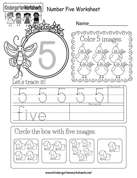 kindergarten worksheets number five kindergarten best