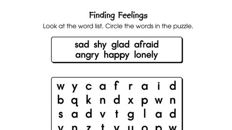 word search puzzle finding feelings printable activities anywhere
