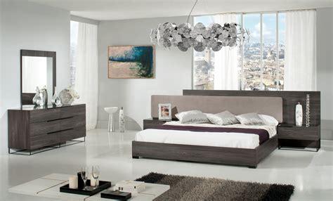 domus enzo italian modern grey oak fabric bed w nightstands modern bedroom bedroom