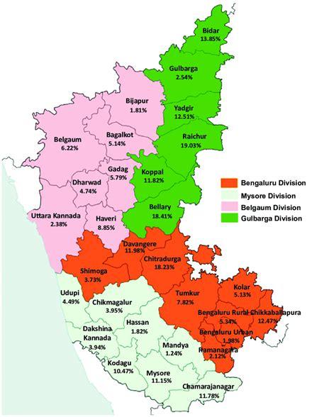 map  karnataka showing tribal population  percentage