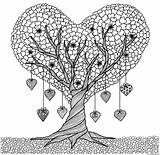 Coloring Tree Heart Adults Pages Printable Discover sketch template