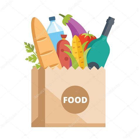 cuisine concept 2000 paper bag of food grocery delivery concept stock