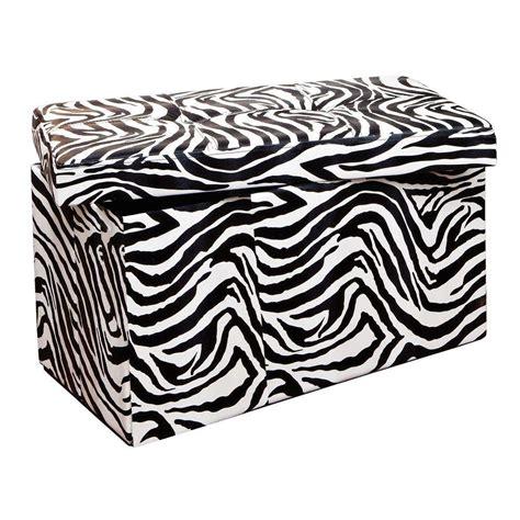 Zebra Storage Ottoman by Simplify Zebra Storage Ottoman F 0632 Zebra The Home Depot