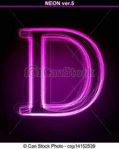Drawings of Glowing font Shiny letter D Glowing neon
