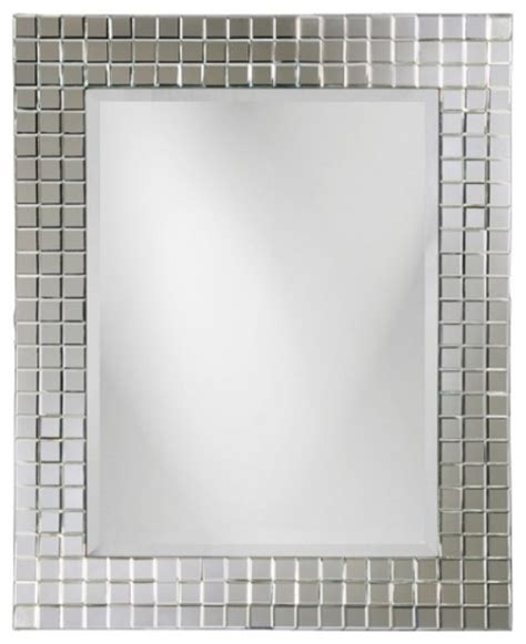 michael square glass beveled tile frame mirror