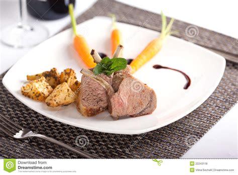 plated lamb chops royalty  stock  image