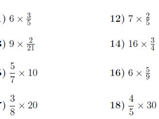 multiplying fractions and whole numbers worksheet with solutions by math w teaching resources