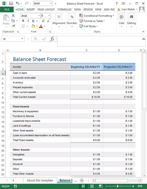 excel template balance sheet projected