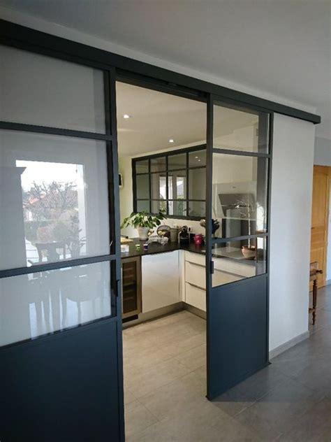 verriere coulissante pour cuisine verrière en acier gris anthracite porte coulissante pour