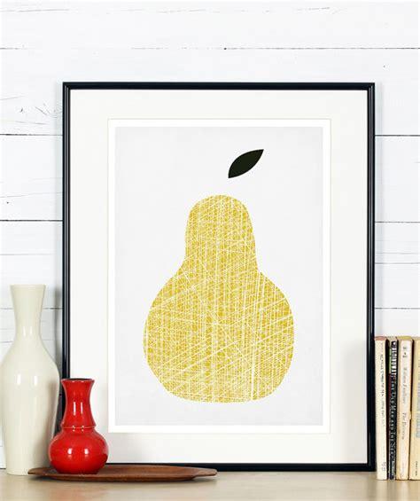 affiche cuisine retro affiche rétro de fruits poire jaune design minimaliste