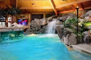 Deck Tiki Torches by Breathtaking Pool Waterfall Design Ideas