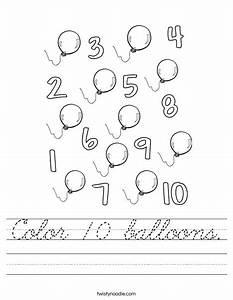 Color 10 balloons worksheet cursive twisty noodle for Cursive letter balloons