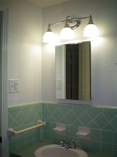 Modern Vintage Bathroom Lighting by New Light Fixture And Outlets To Update Our 1950 S