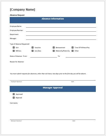 Time Off Request Policy Template by Time Off Request Form Template Ms Word Word Excel