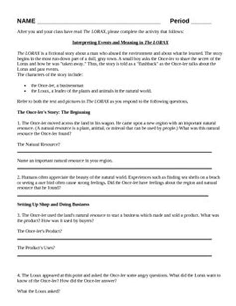 worksheets the lorax worksheet answer key opossumsoft