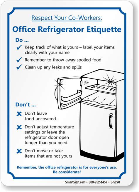 office refrigerator etiquette fridge cleanup sign sku