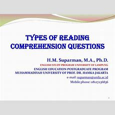 Ppt  Types Of Reading Comprehension Questions Powerpoint Presentation Id2834956