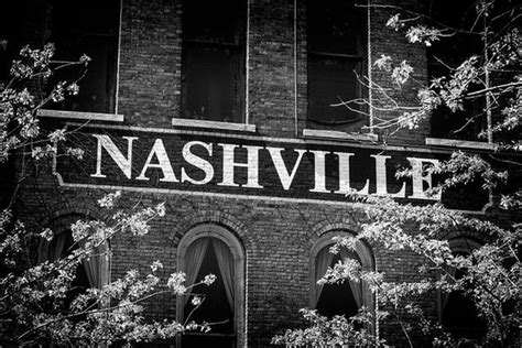 nashville sign waterfront black  white photograph