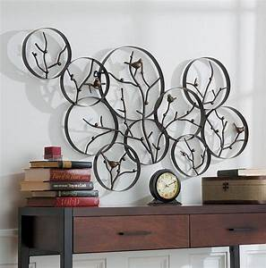 round metal wall decor beautiful artwork almosthomebb With kitchen cabinets lowes with metal tree branch wall art