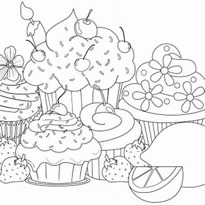 Coloring Cupcake Cupcakes Muffin Ausmalbilder Colorir Desenhos