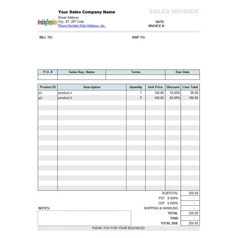 sales invoice template  discount