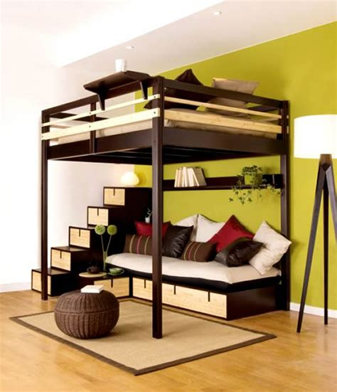 futuristic bedroom set with suspended bunk beds vs loft beds both great for small spaces