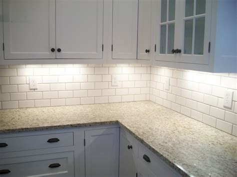 granite countertop subway tile backsplash off white