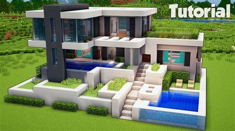 minecraft   build  large modern house tutorial easy blogtubez