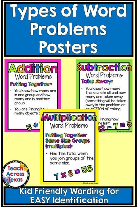 Multiplication and division word problems. Types of Word Problems Posters - Addition, Subtraction, Multiplication, Division | Word problems ...