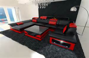 designer sofas leder leather sofa enzo u shaped set with led light black ebay