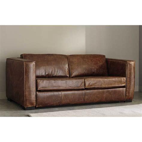 canapé en cuir canapé convertible 3 places en cuir marron vieilli