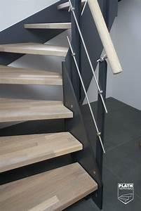 Geländer Für Treppe : detail antritt flachwangentreppe hpl treppe mit stufen aus eiche und gel nder aus edelstahl ~ Markanthonyermac.com Haus und Dekorationen