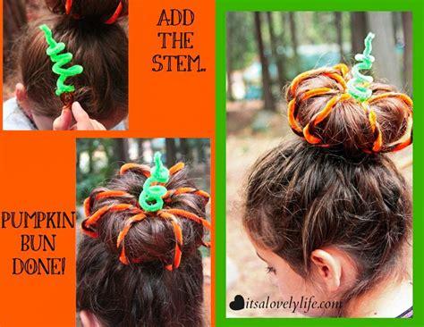 Halloween Hair Style Pumpkin Top Bun  It's A Lovely Life
