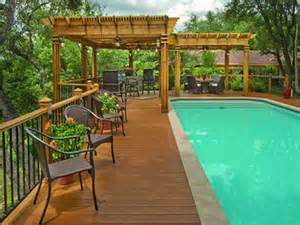 above ground pool with deck and slide landscaping gardening ideas