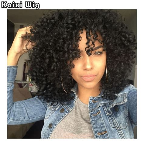 Weave Hairstyles For American by 18 Quot Afro Curly Wigs Synthetic Wigs For Black