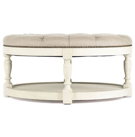 round ottoman coffee table marseille french country cream ivory linen round tufted