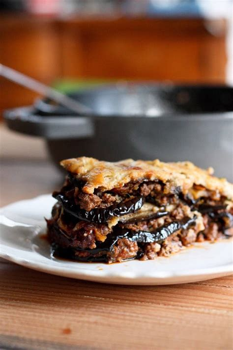 rustic eggplant moussaka feasting  home