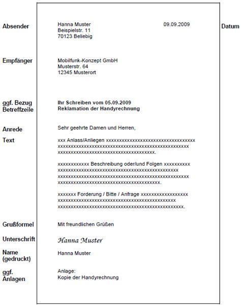 kriterien aufbau eines geschaeftsbriefes