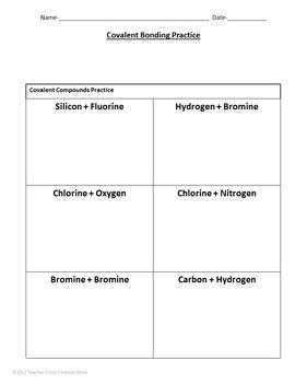 Covalent Bonding Practice Worksheet By Teacher Erica's Science Store