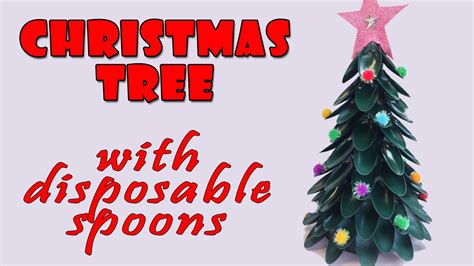 hand made christmas out of paper tree with disposable spoons crafts