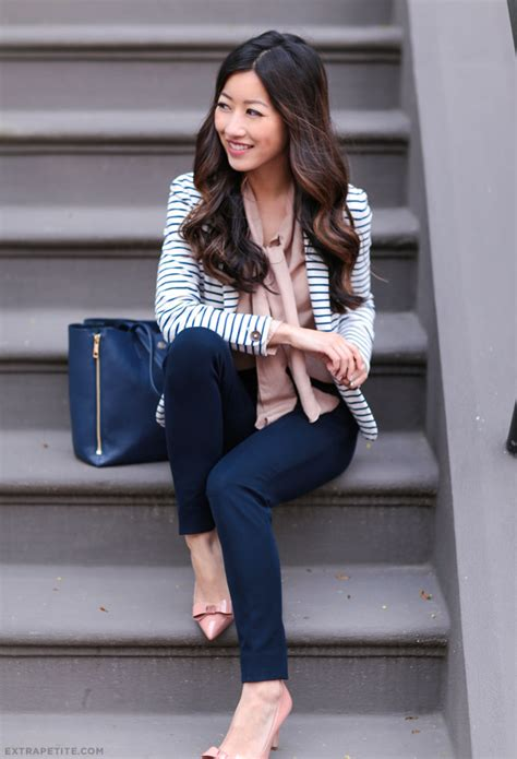 Navy peach + stripes for work // new sloan fit ankle pants - Extra Petite