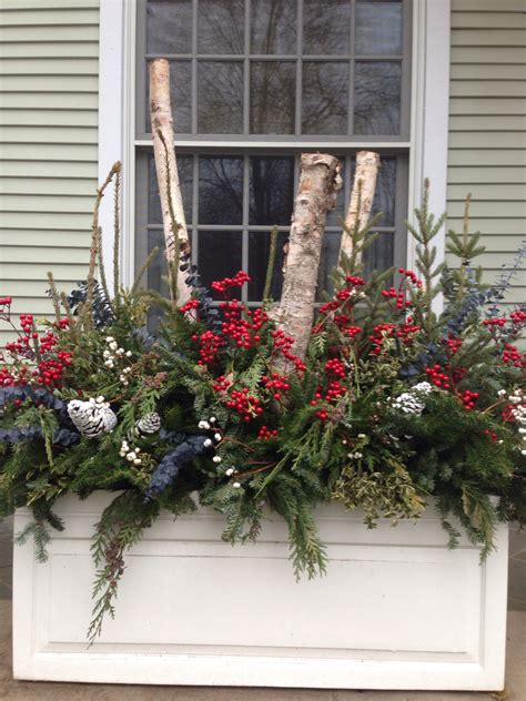 birch poles winter containers christmas decorations
