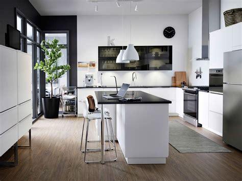 cuisine island cuisine moderne en blanc et noir