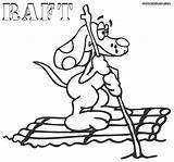 Raft Coloring Pages Rafting Colorings Dog sketch template