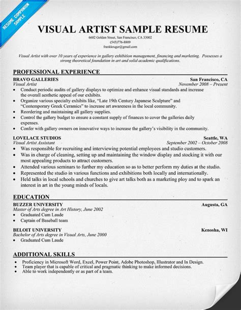 Visual Resumes 2015 by Exle Resume Resume Format Artist