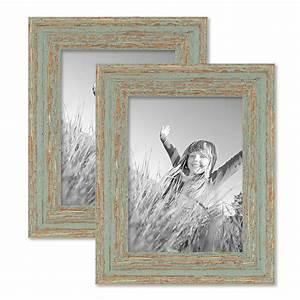 Bilderrahmen Vintage Set : 2er set vintage bilderrahmen 15x20 cm grau gr n shabby chic massivholz mit glasscheibe und ~ Buech-reservation.com Haus und Dekorationen