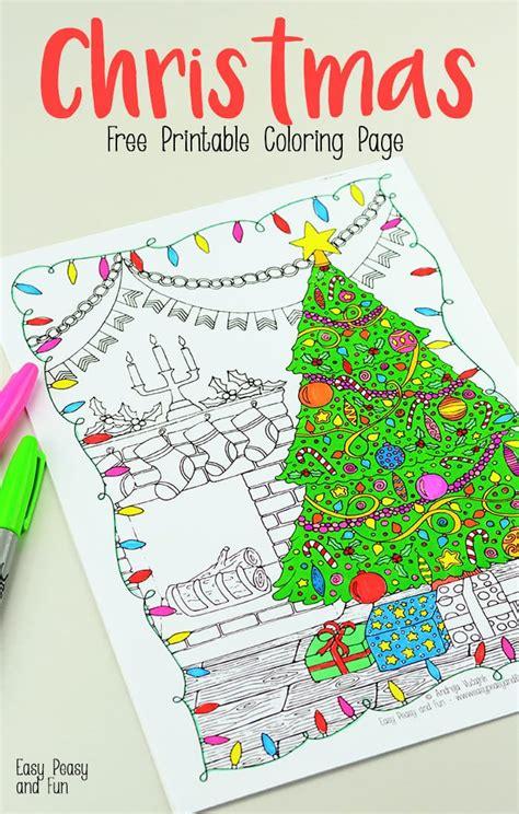 printable christmas coloring page easy peasy  fun