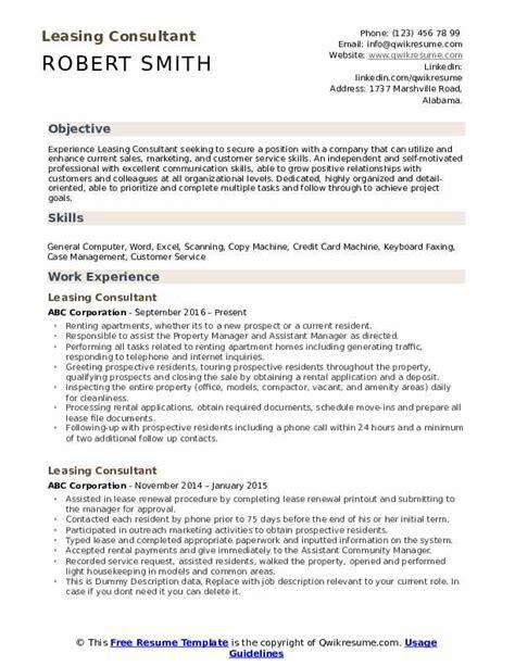 leasing consultant resume sles qwikresume
