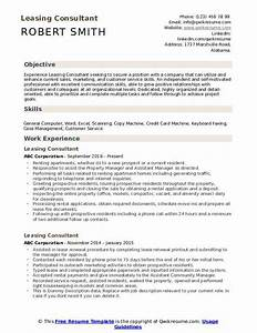 Assistant Property Manager Resume Objective Leasing Consultant Resume Samples Qwikresume